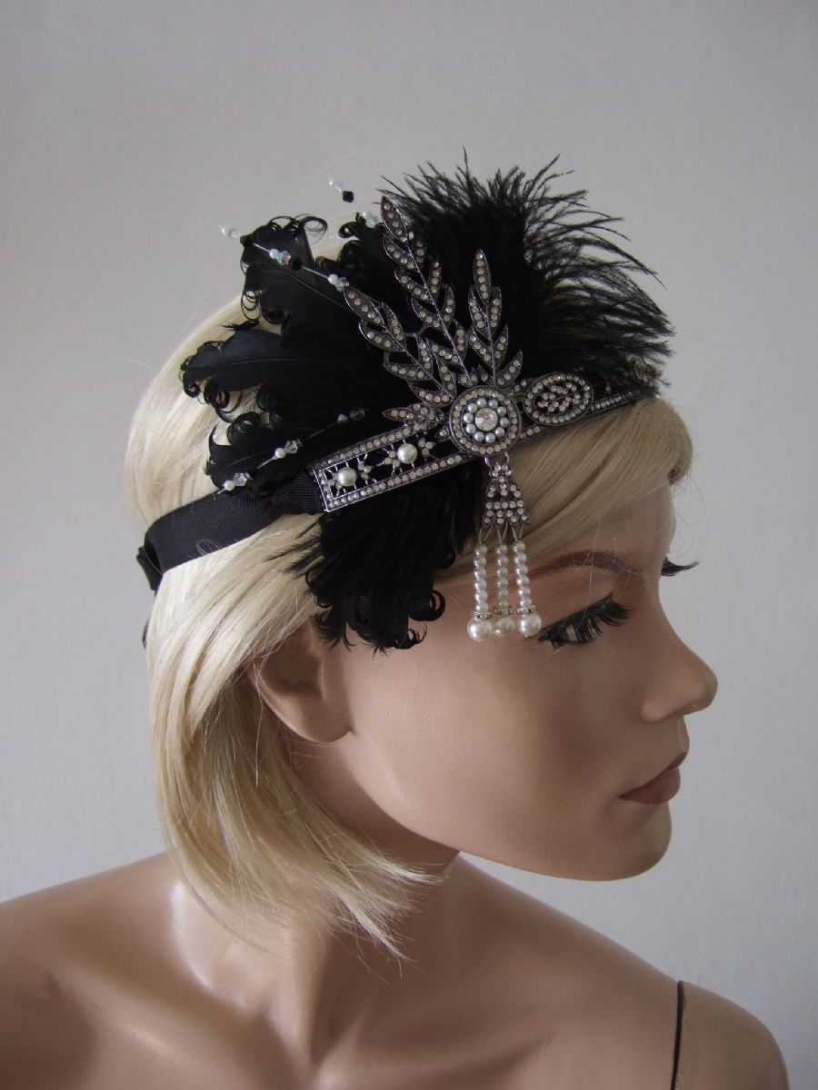 Black Feather Flapper 1920's Art Deco Headband Headpiece - Great Gatsby Downton Abbey Fashion. 20s Theme Party outfits. Great Gatsby Headbands